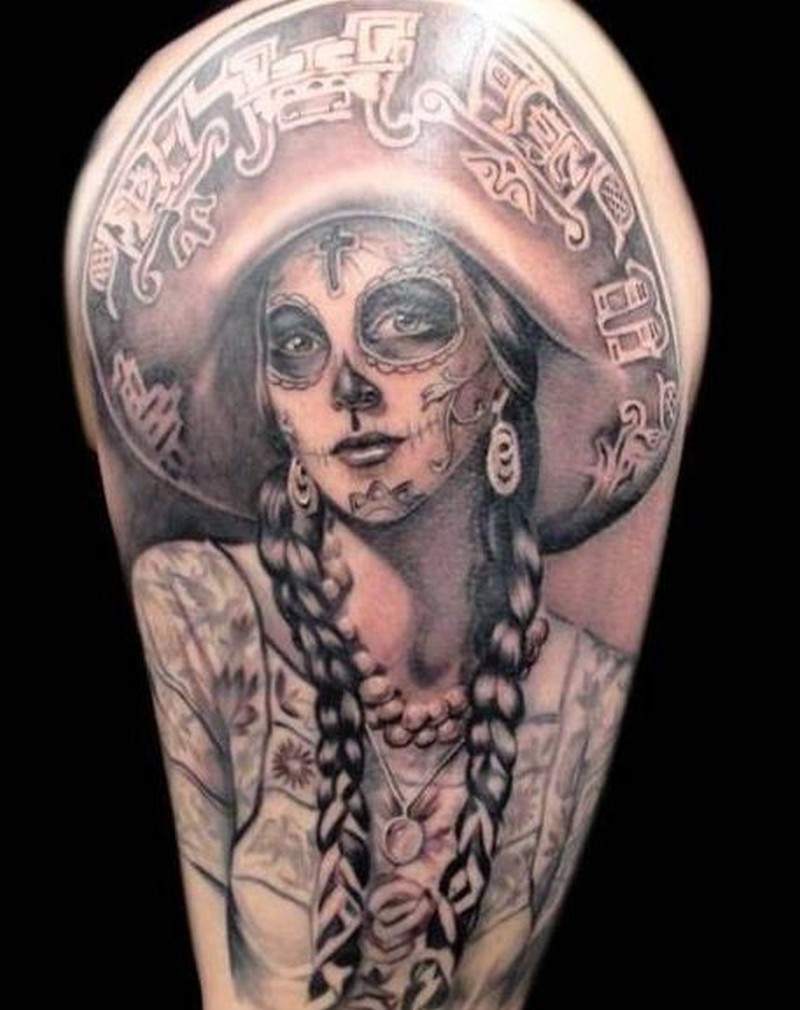 Awesome santa muerte girl tattoo in mexican style - Tattoos