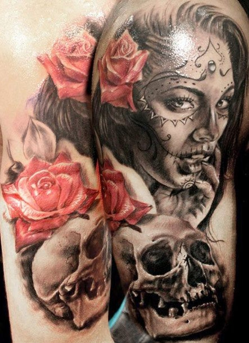 Awesome santa muerte girl with red roses and skull tattoo ...