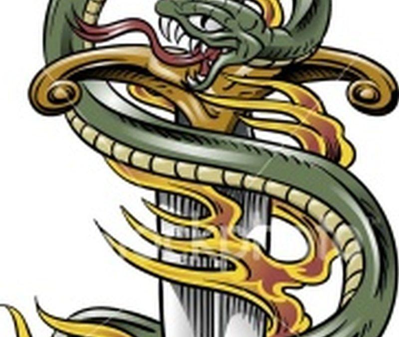 Awesome snake dagger tattoo design