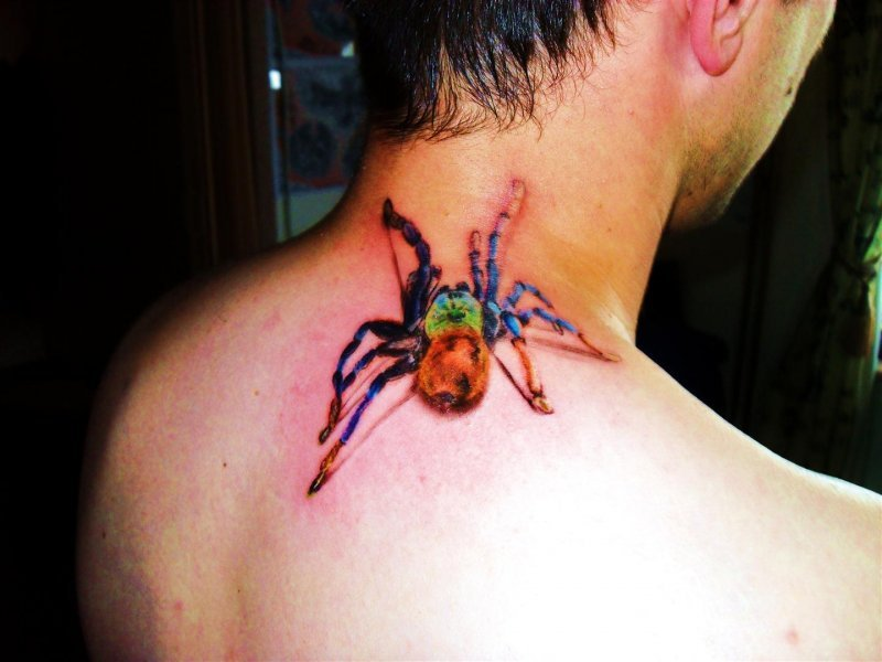 Awesome spider tattoo on neck for men