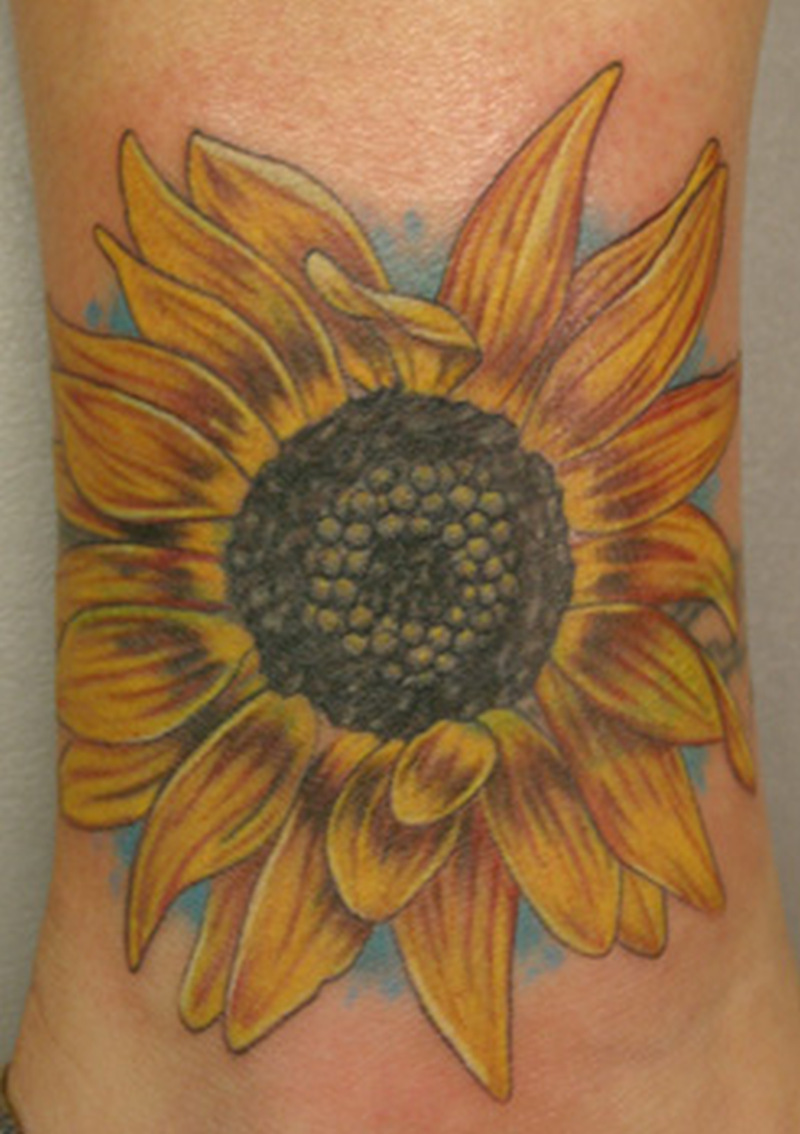Awesome sun flower tattoo design