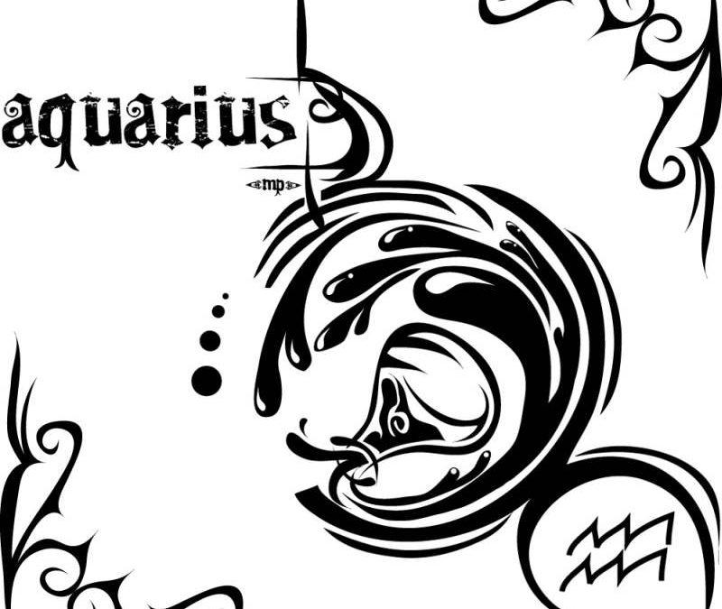 Awesome tattoo design of aquarius