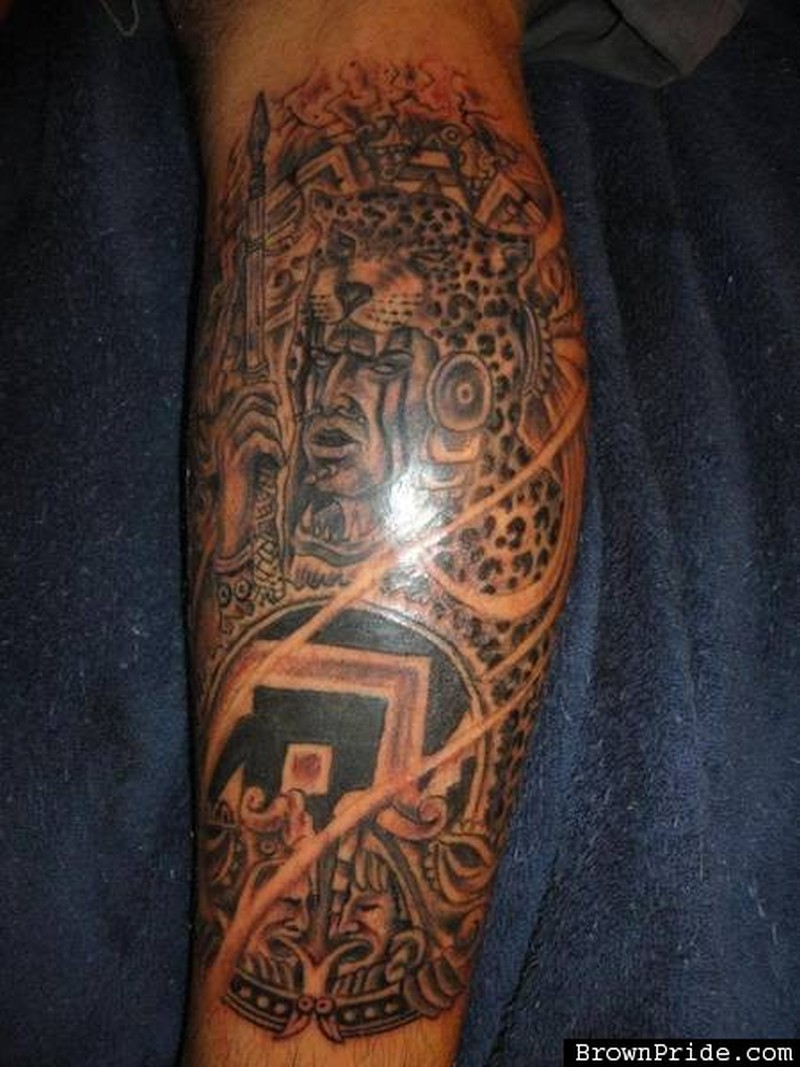 Awesome tattoo design of aztec