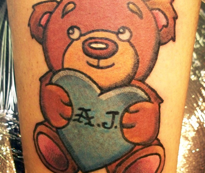 Awesome teddy bear tattoo design