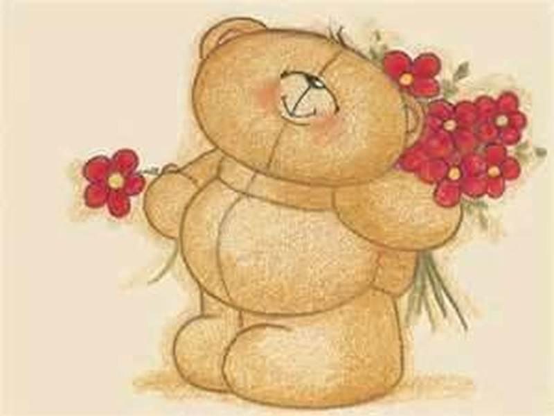 Awesome teddy bear with flowers tattoo design