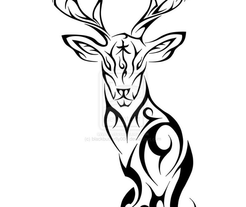 Awesome tribal deer tattoo design