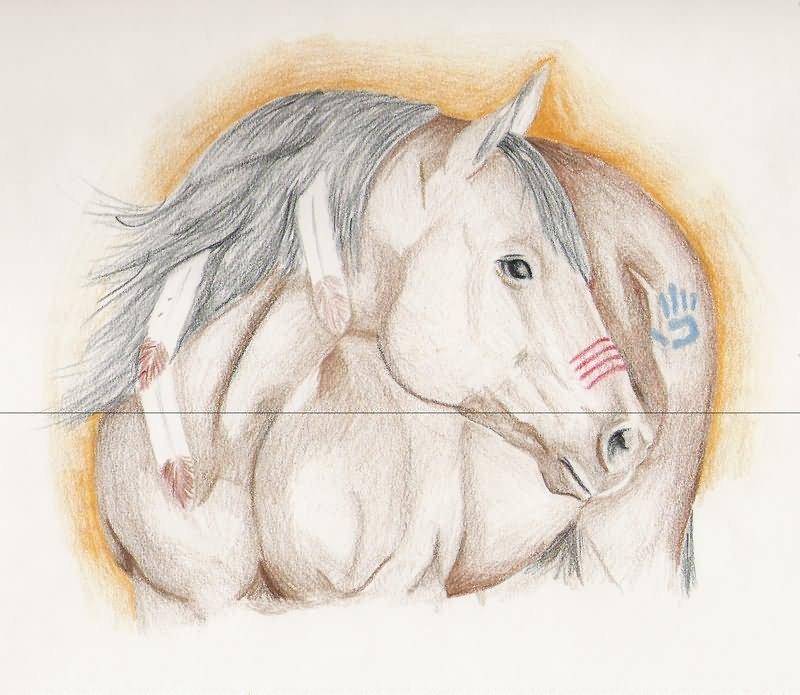 Awesome white horse tattoo design