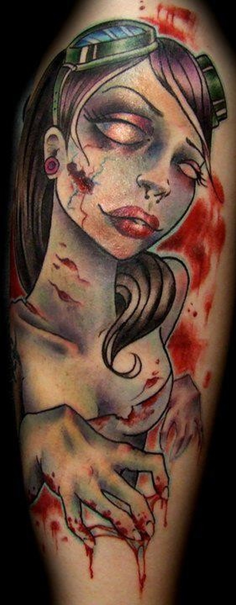 awesome zombie pin up tattoo by liz reyes tattoos book tattoos designs. Black Bedroom Furniture Sets. Home Design Ideas