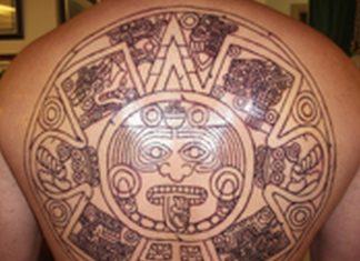 e7b0119a9 Aztec calendar stone tattoo design on back
