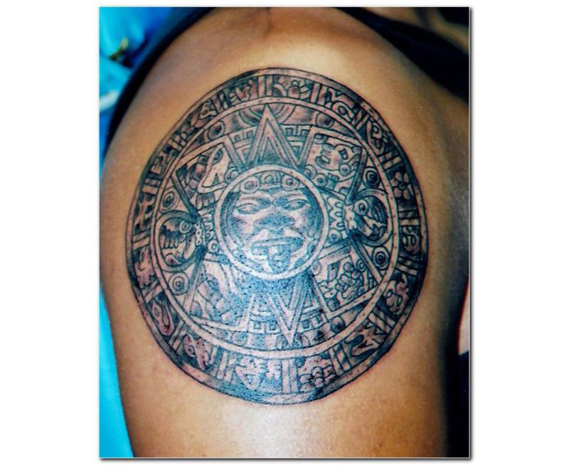 Aztec calendar tattoo for men