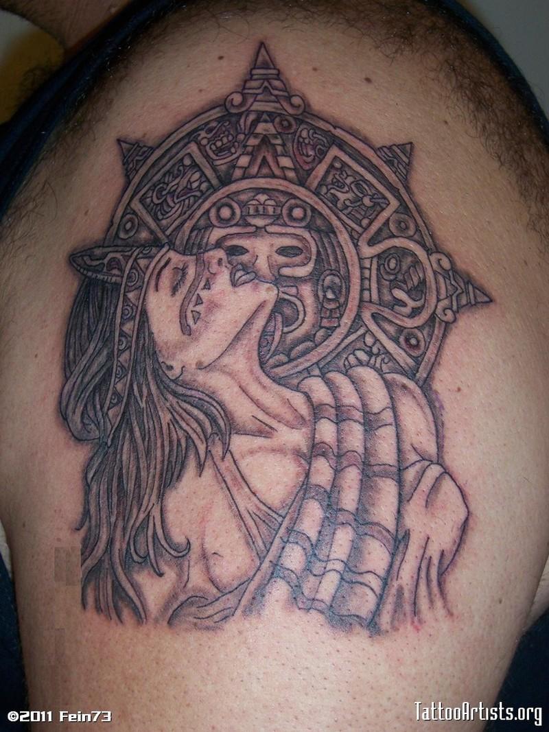 aztec girl tattoo design on shoulder tattoos book. Black Bedroom Furniture Sets. Home Design Ideas