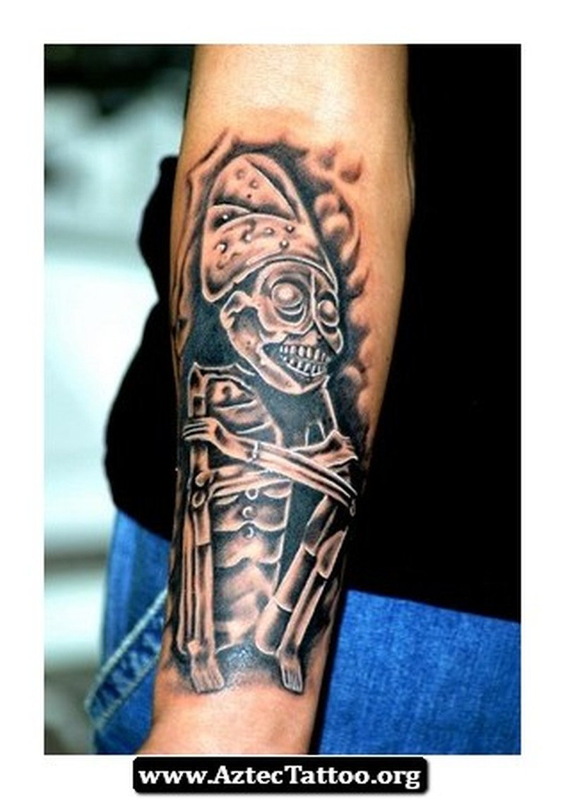 Aztec god of death tattoo design 2