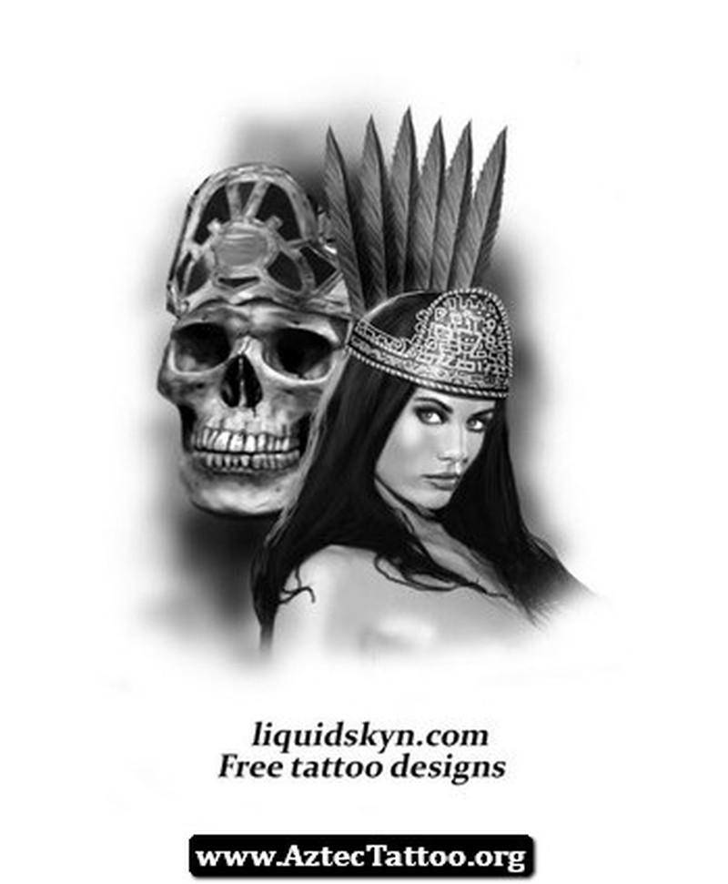 Aztec god of death tattoo design