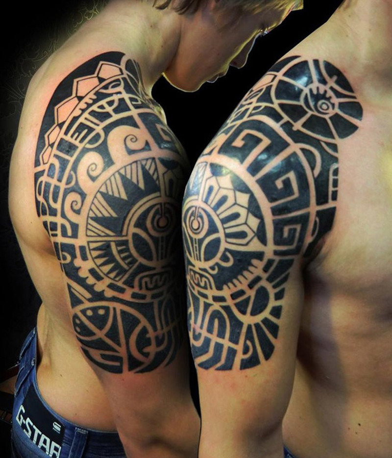 Aztec half sleeve tattoo for men
