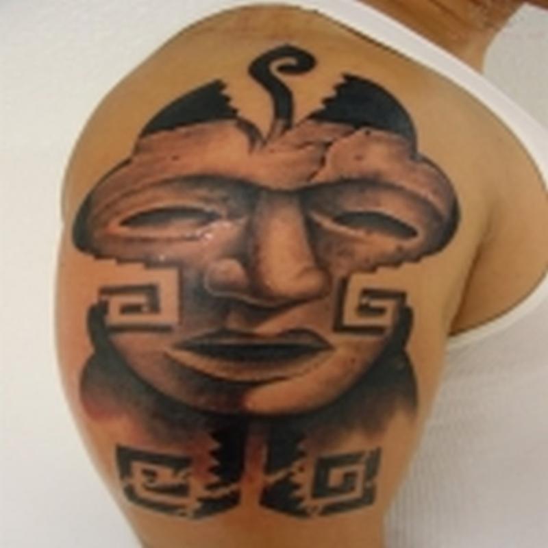 Aztec mask tattoo design