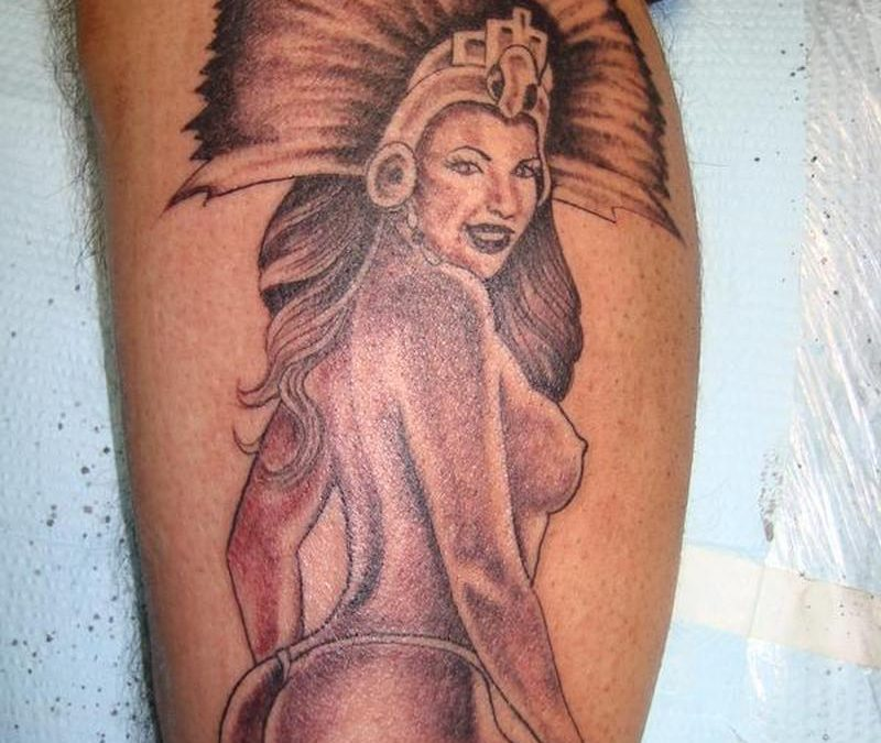 Aztec naked woman tattoo