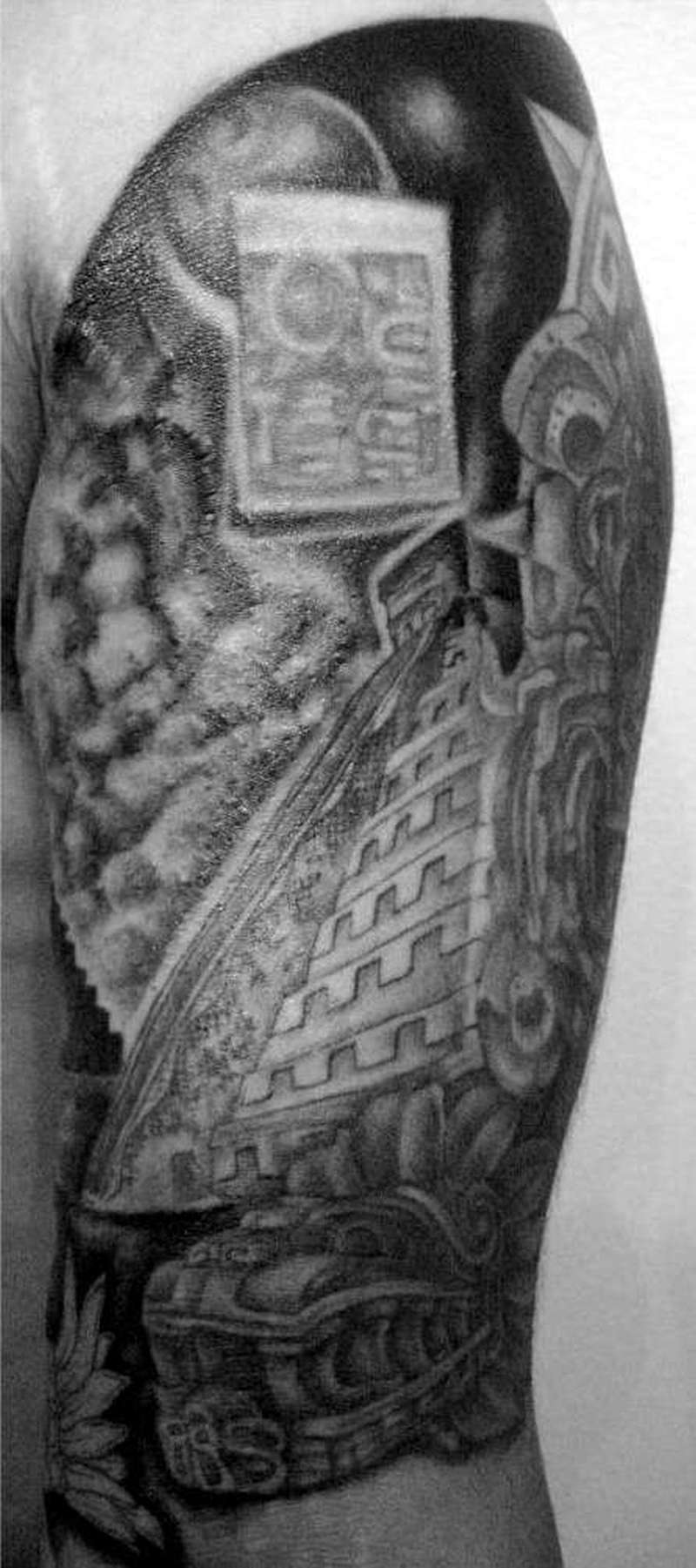 Aztec pyramid along with the dark energy tattoo