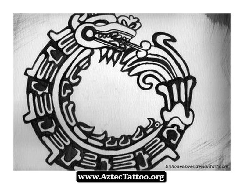 Aztec snake circle tattoo picture