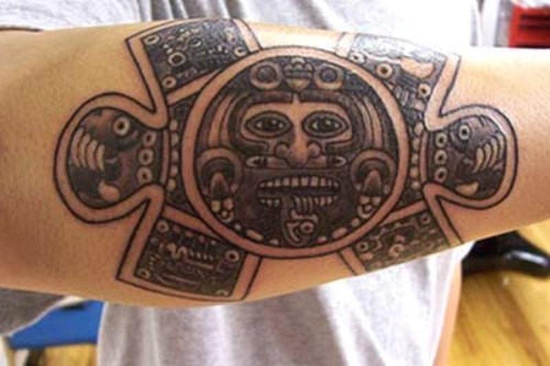 Aztec tattoos on arm1