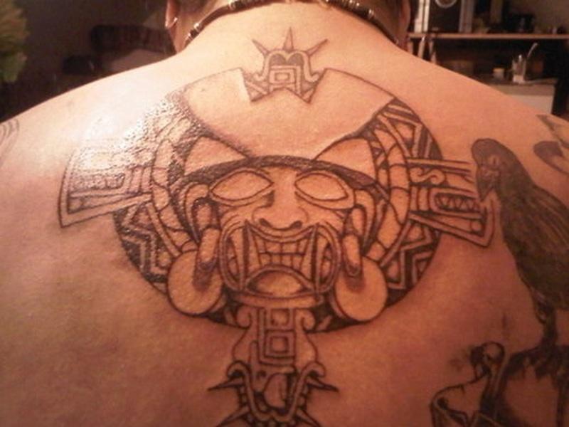 Aztec tribal design tattoo