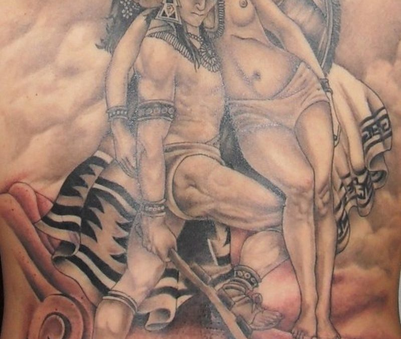 Aztec warrior holding maiden amazing tattoo