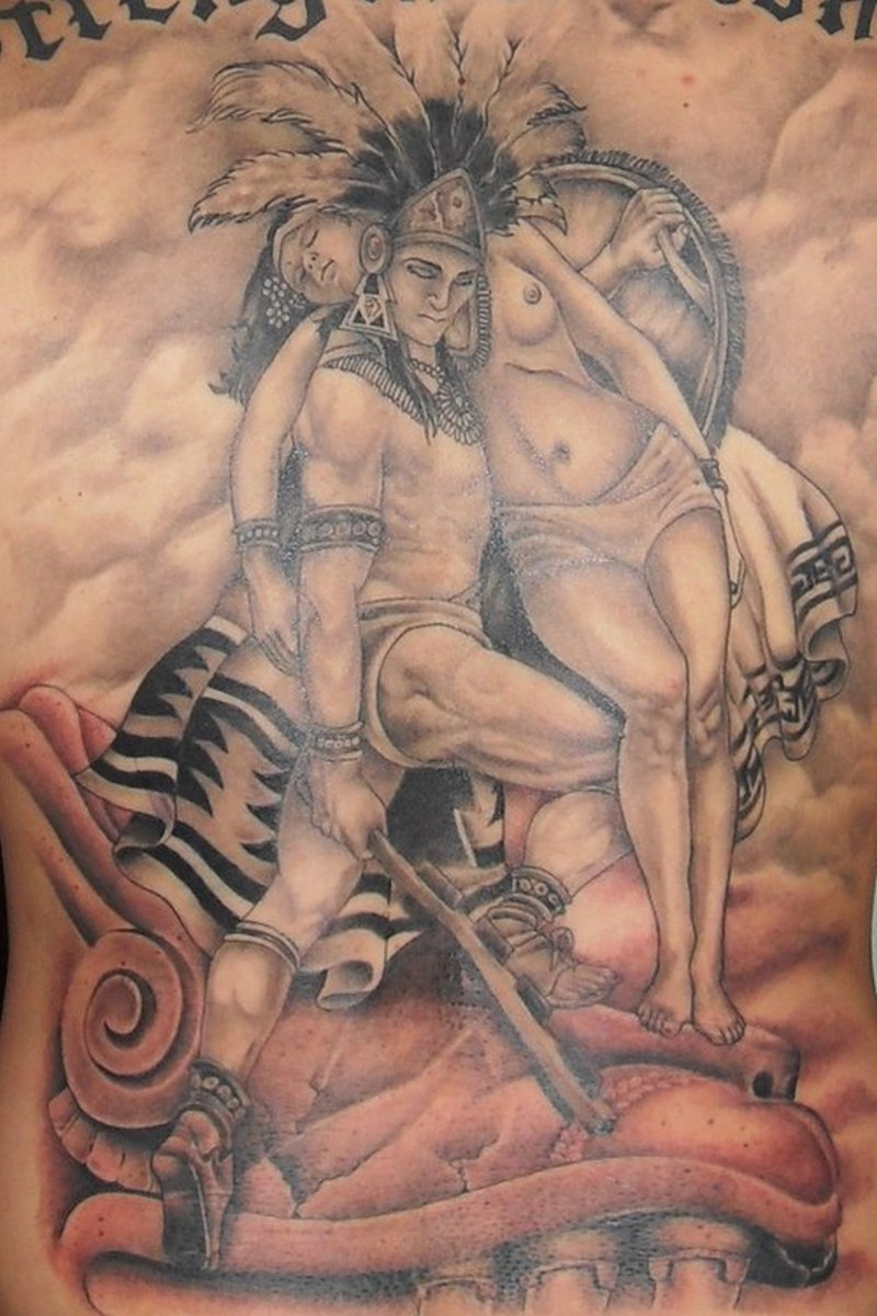 Aztec warrior holding maiden amazing tattoo