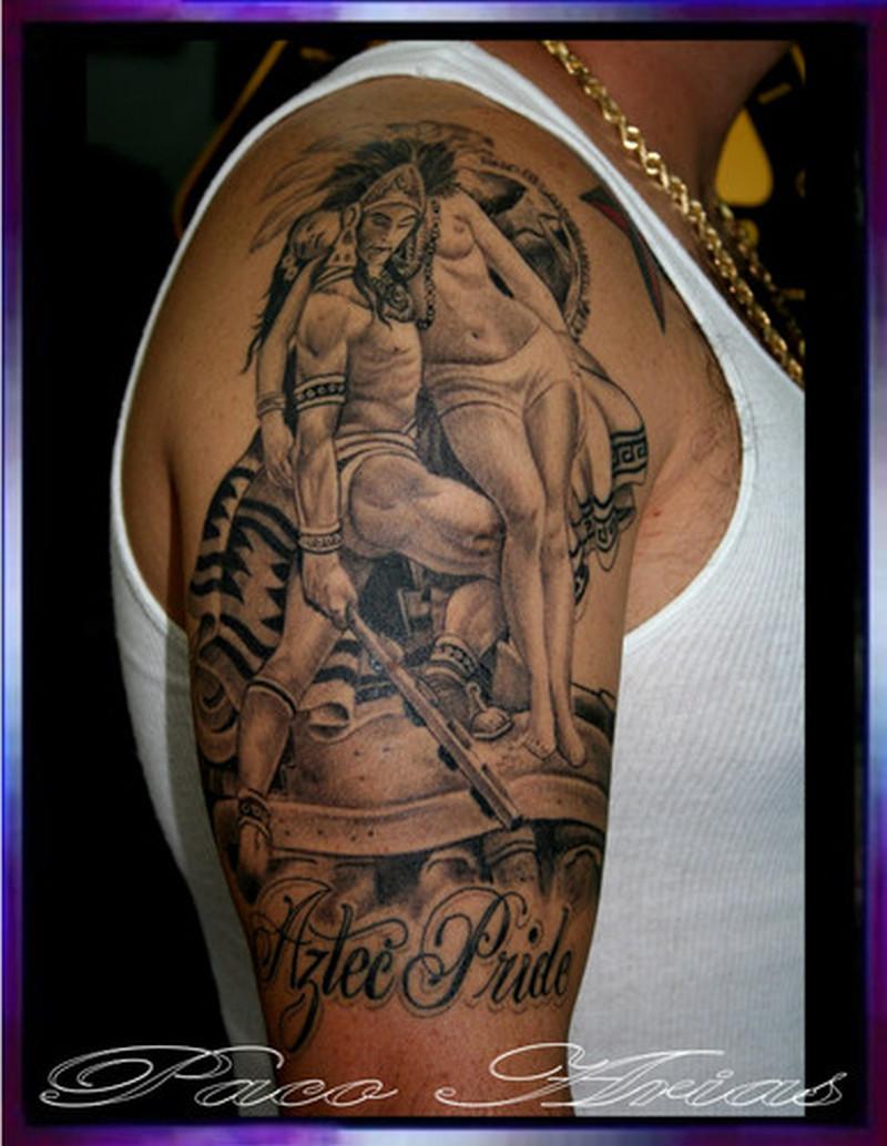 f472a7ff0 Aztec warrior holding maiden tattoo design - Tattoos Book - 65.000 ...