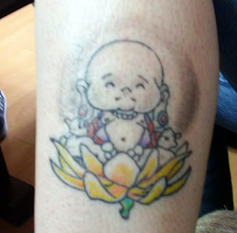 Baby buddha lotus tattoo design