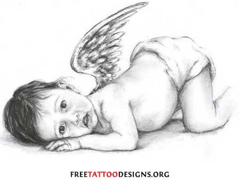 Baby cherub tattoo design 2