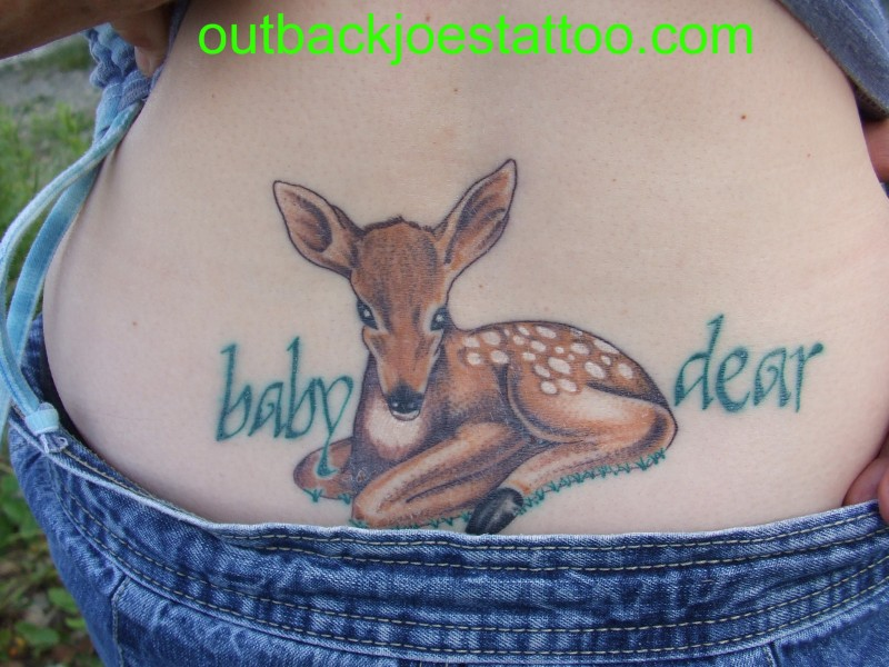 Baby deer fawn tattoo on lower back tattoos book 65 for Baby s first tattoo book