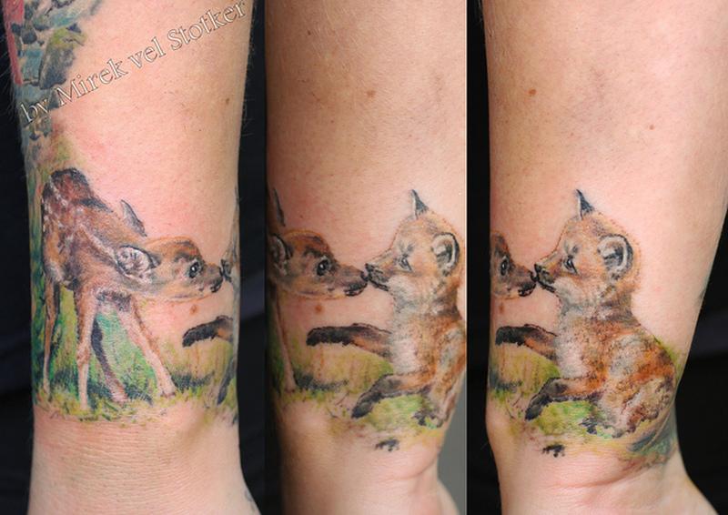 Baby deer n fox tattoo design