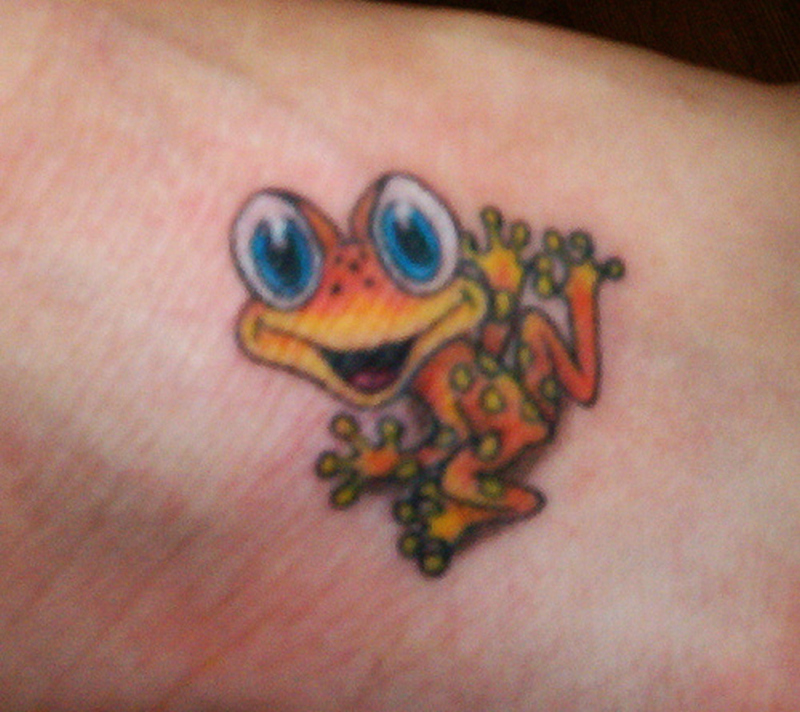 Baby frog tattoo