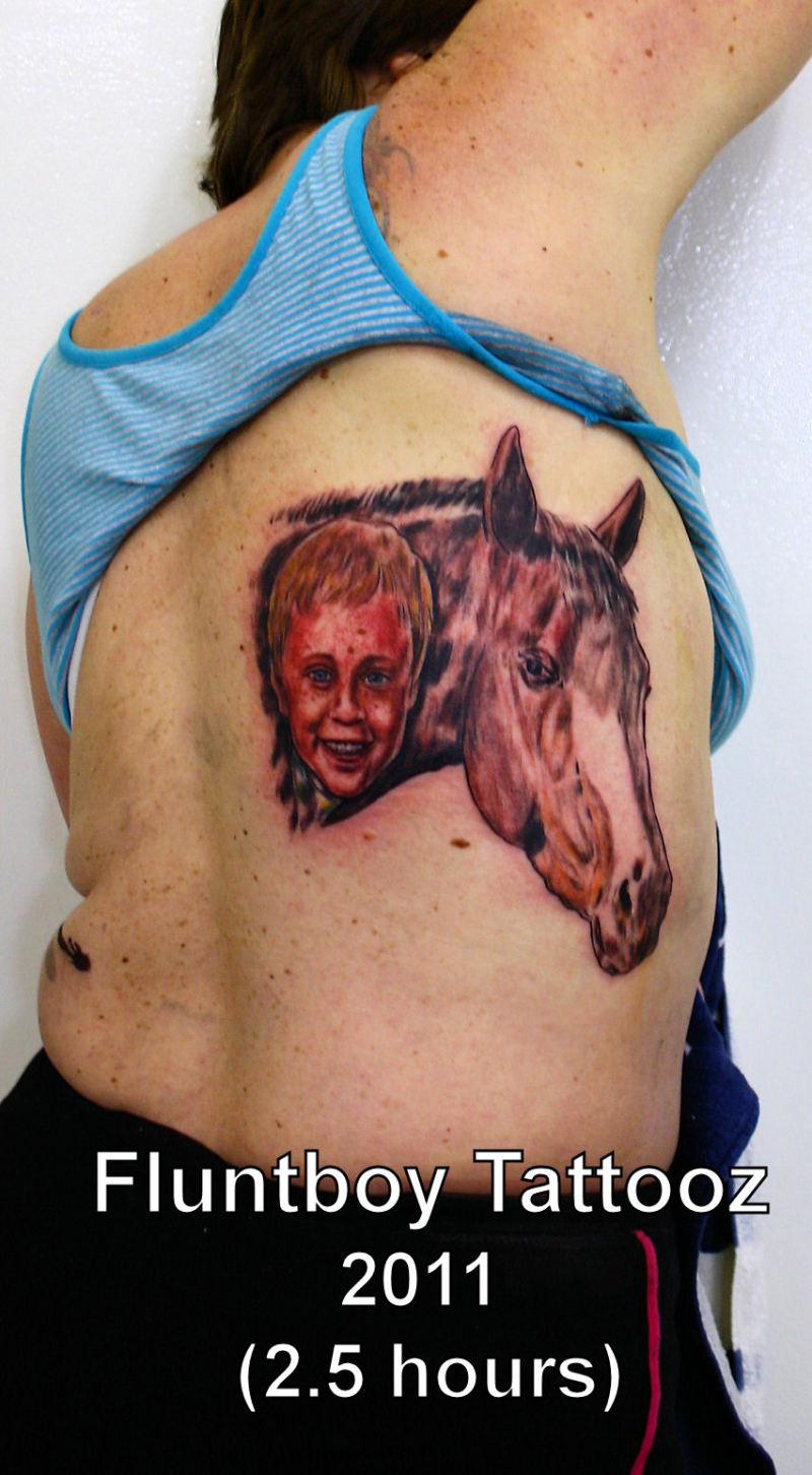Baby horse portrait tattoo