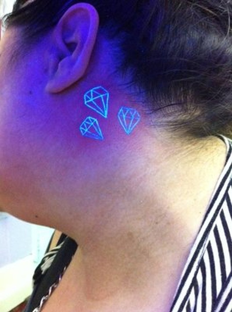 Tattoo design behind ear - Back Ear Blacklight Diamonds Tattoo Design
