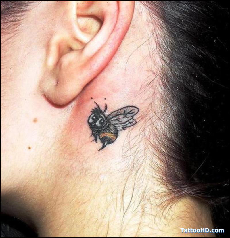 Back ear bumblebee tattoo design