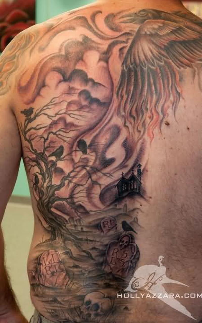 Back piece graveyard design for men tattoo