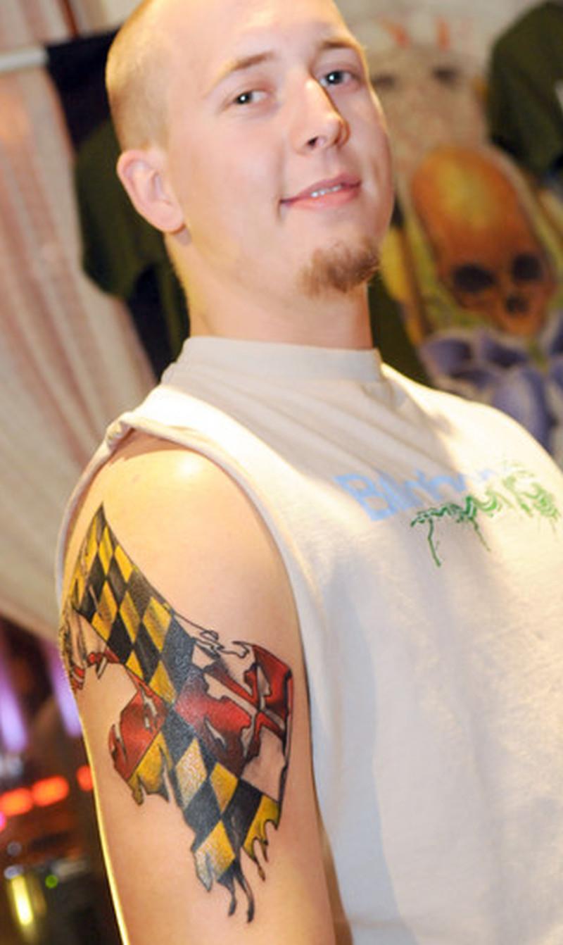 baltimore flag tattoo on upper arm tattoos book tattoos designs. Black Bedroom Furniture Sets. Home Design Ideas