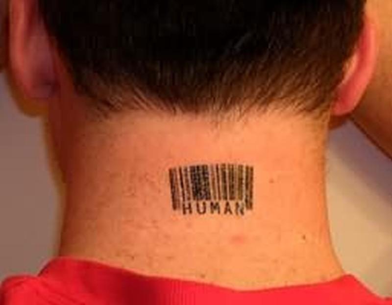 Bar code geek tattoo on neck back
