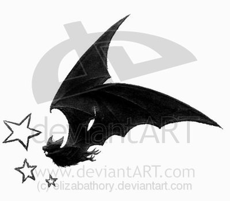 Bat stars tattoo design