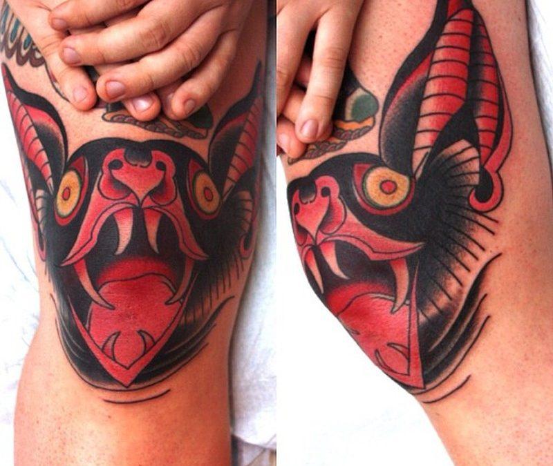 Bat tattoo designs on knees