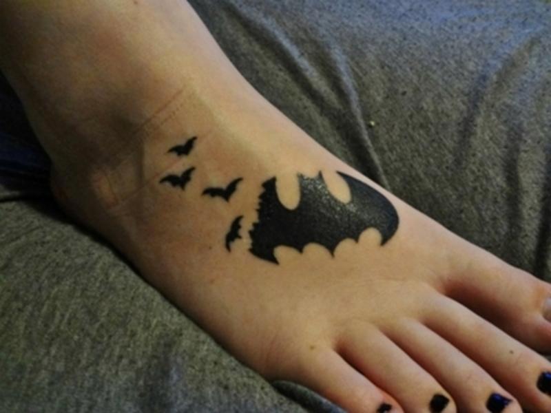 Batman bats tattoo design on foot
