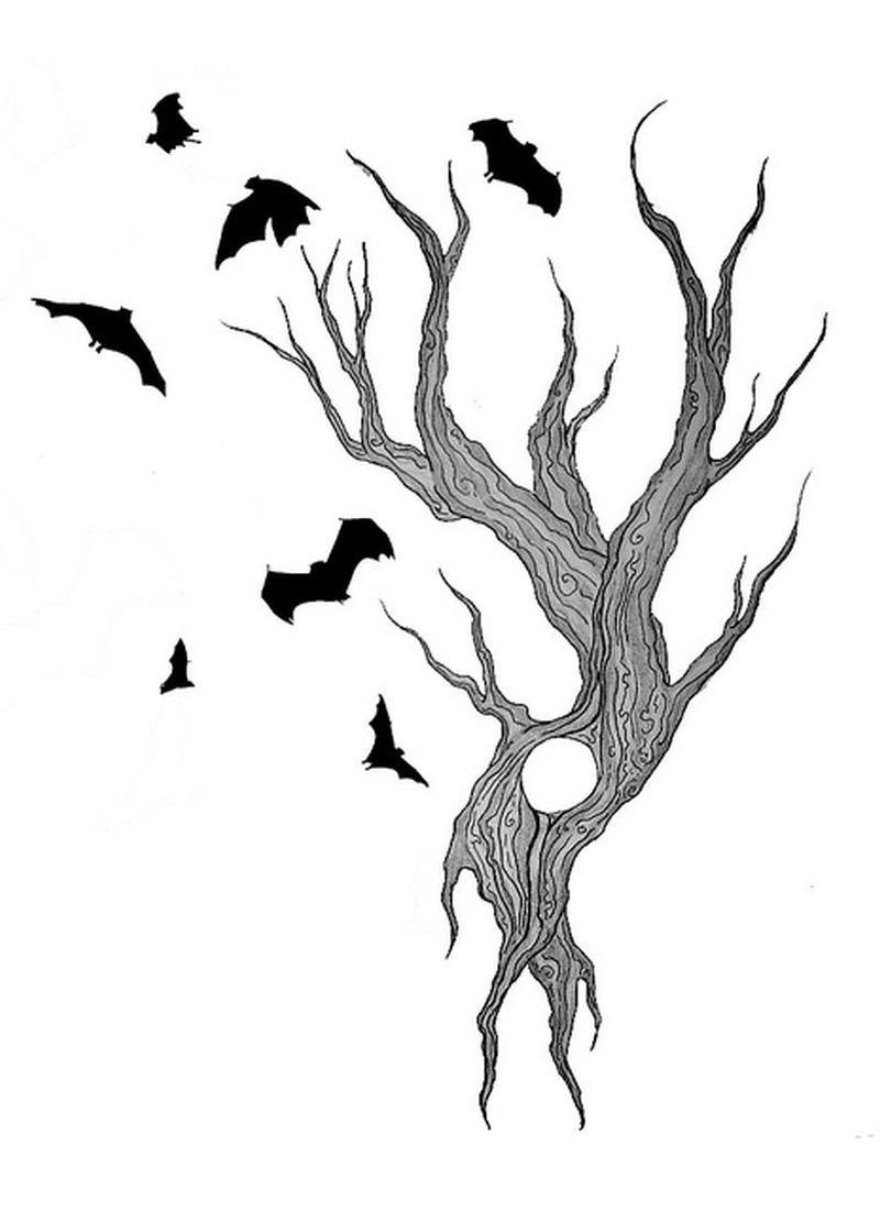 Bats bird tattoo flying on tree