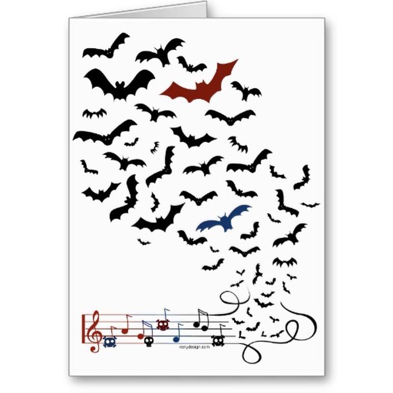 Bats musical symbols tattoo design