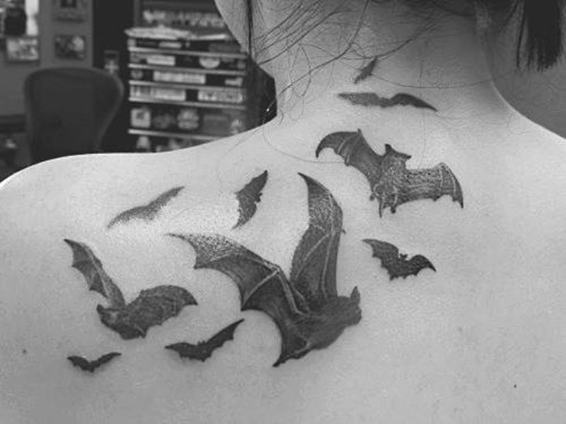 Bats tattoo design on shoulder back