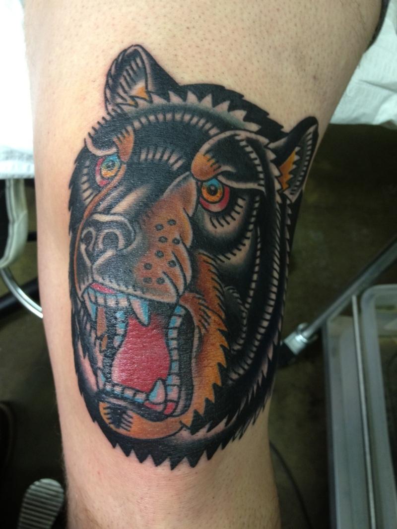 Bear head knee tattoo design