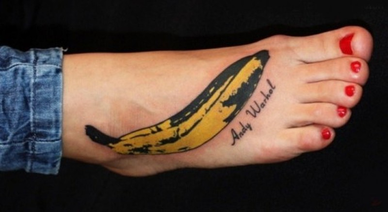 Beautiful banana tattoo design for foot