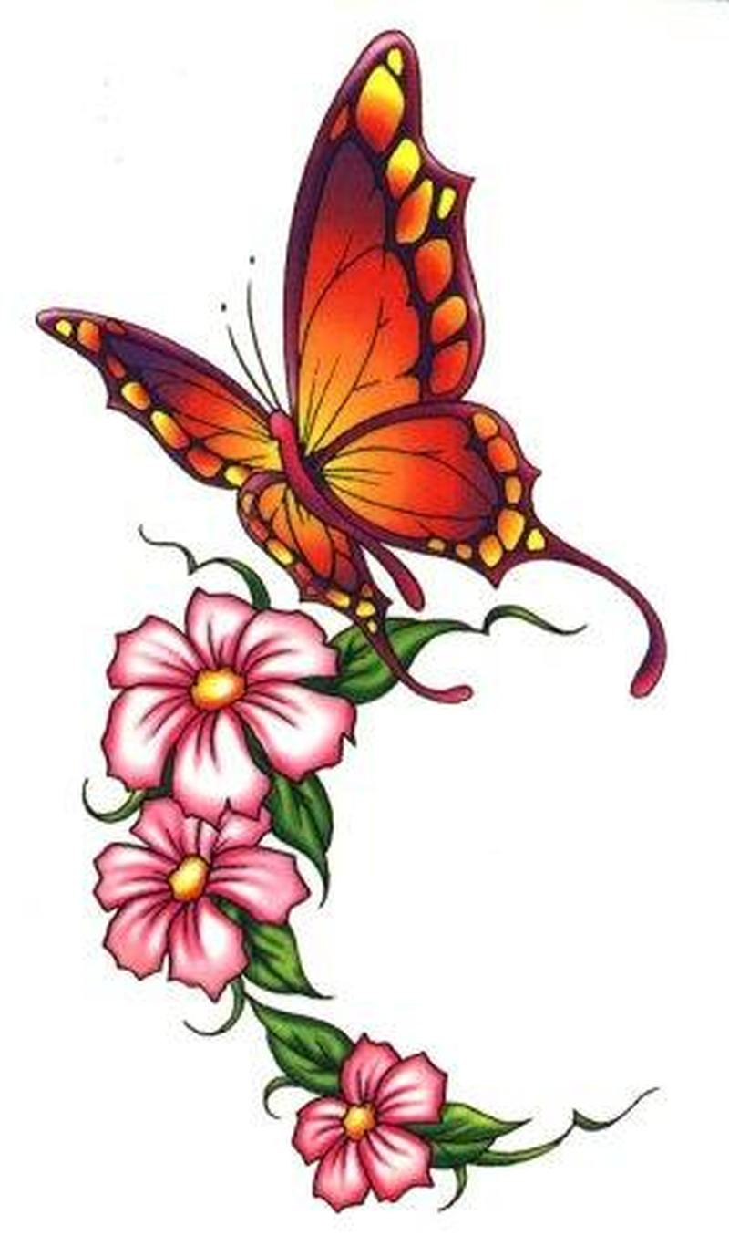 beautiful butterfly flowers tattoo design tattoos book. Black Bedroom Furniture Sets. Home Design Ideas