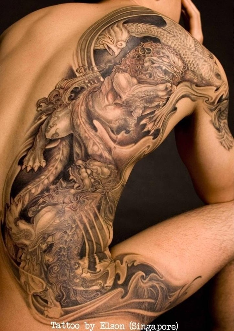 Beautiful Chinese Lion Tattoo On Back By Elson Yeo Tattoos Book