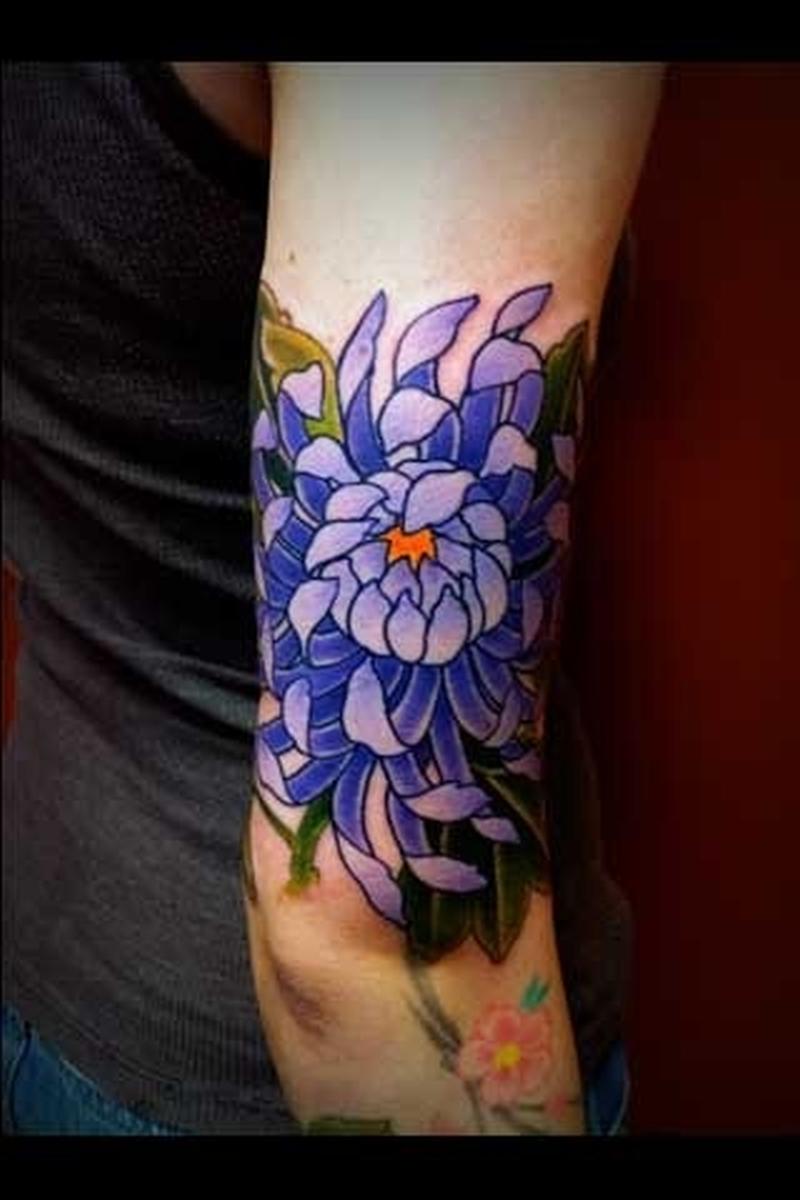 45ba5da71 Beautiful chrysanthemum tattoo on back arm - Tattoos Book - 65.000 ...