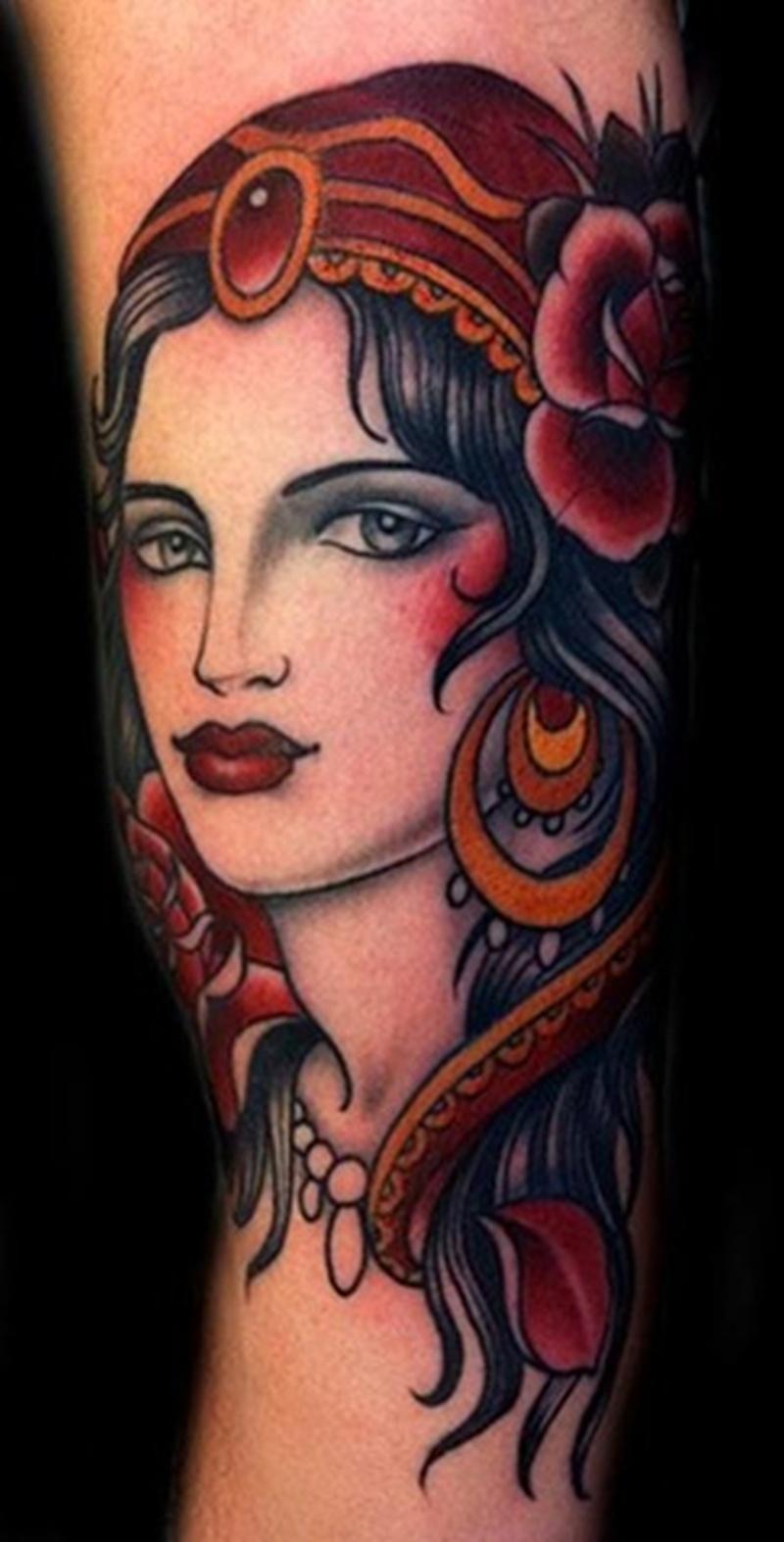 Beautiful girl head tattoo design tattoos book for Tattoo girl book